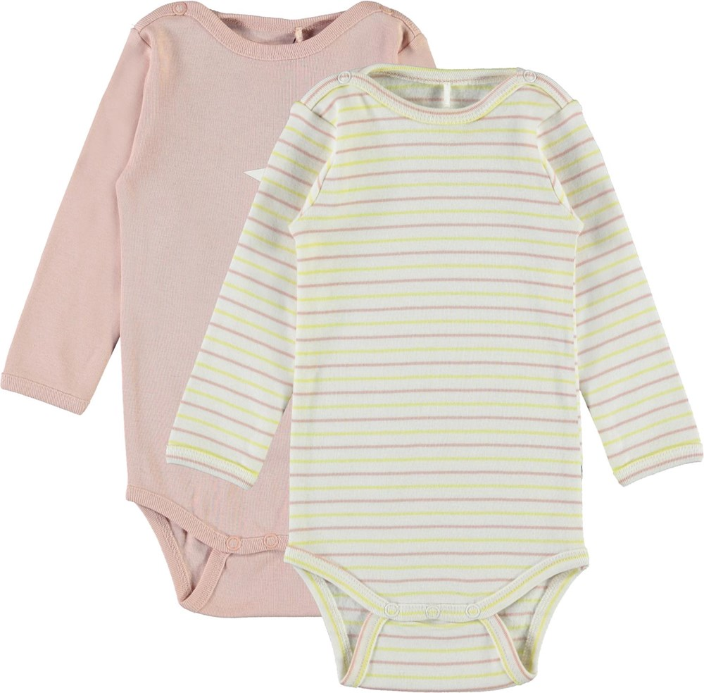 Foss 2-Pack - Blush - Striped - Organic, 2-pack baby bodysuit with stripes