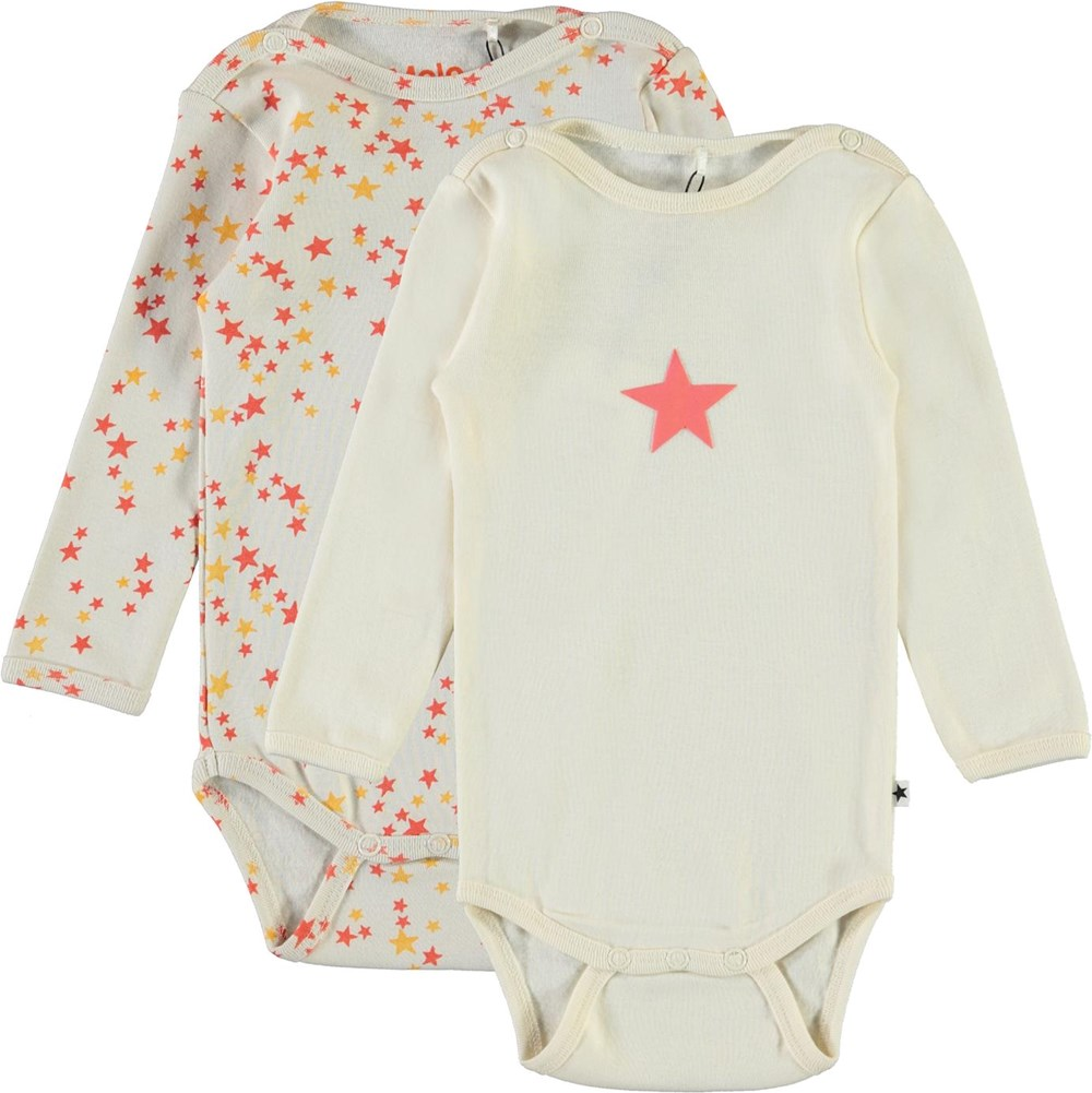 Foss 2-Pack - Pearled - Starry - Organic, 2-pack baby bodysuit with stars med stjerner