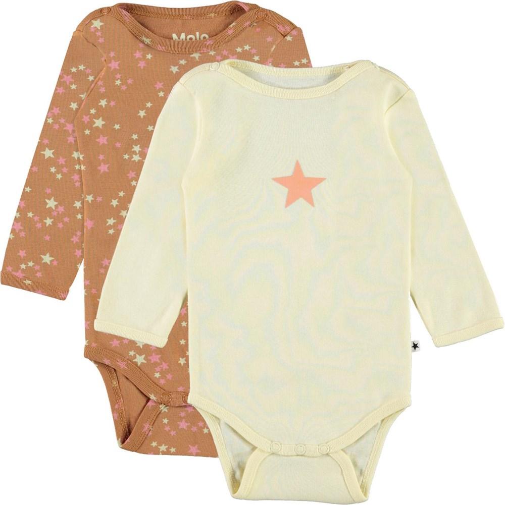 Foss 2-Pack - Starry Marzipan - Organic 2-pack baby bodysuit light yellow stars