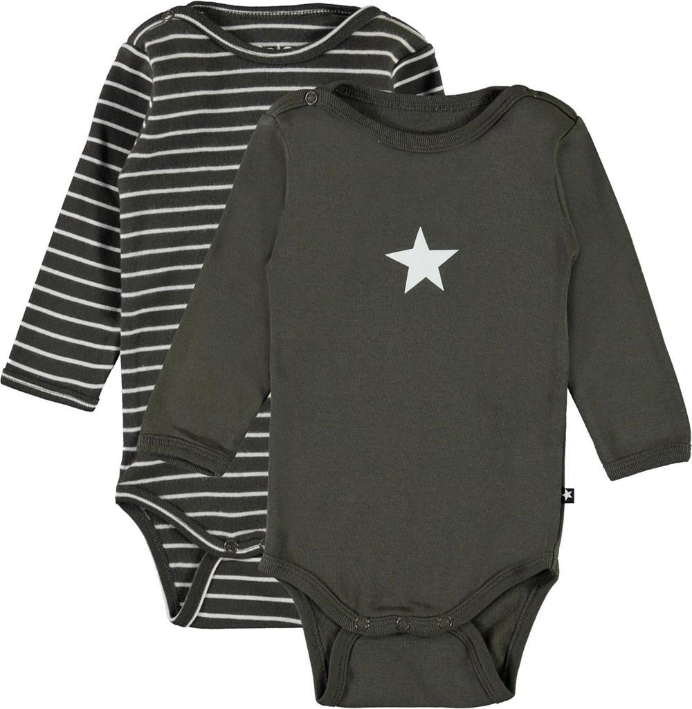 Foss 2-Pack - Stripe Beluga - Organic 2-pack baby bodysuit grey and striped