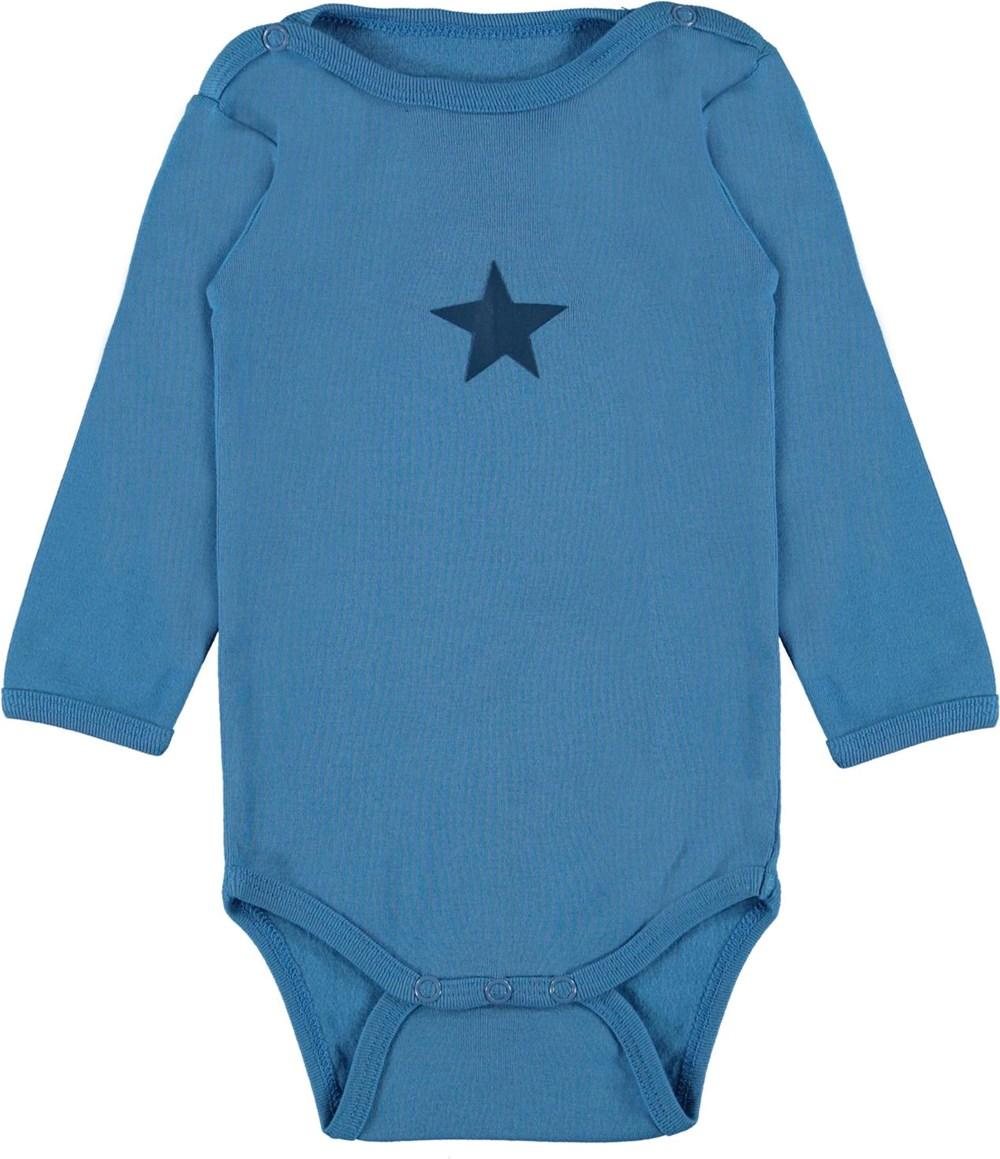 Foss - Aqua - Blue organic baby bodysuit star