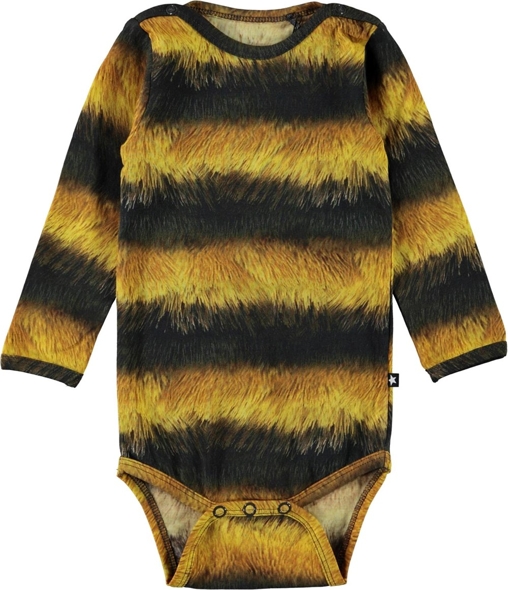 Foss - Bee - Black and yellow striped baby bodysuit