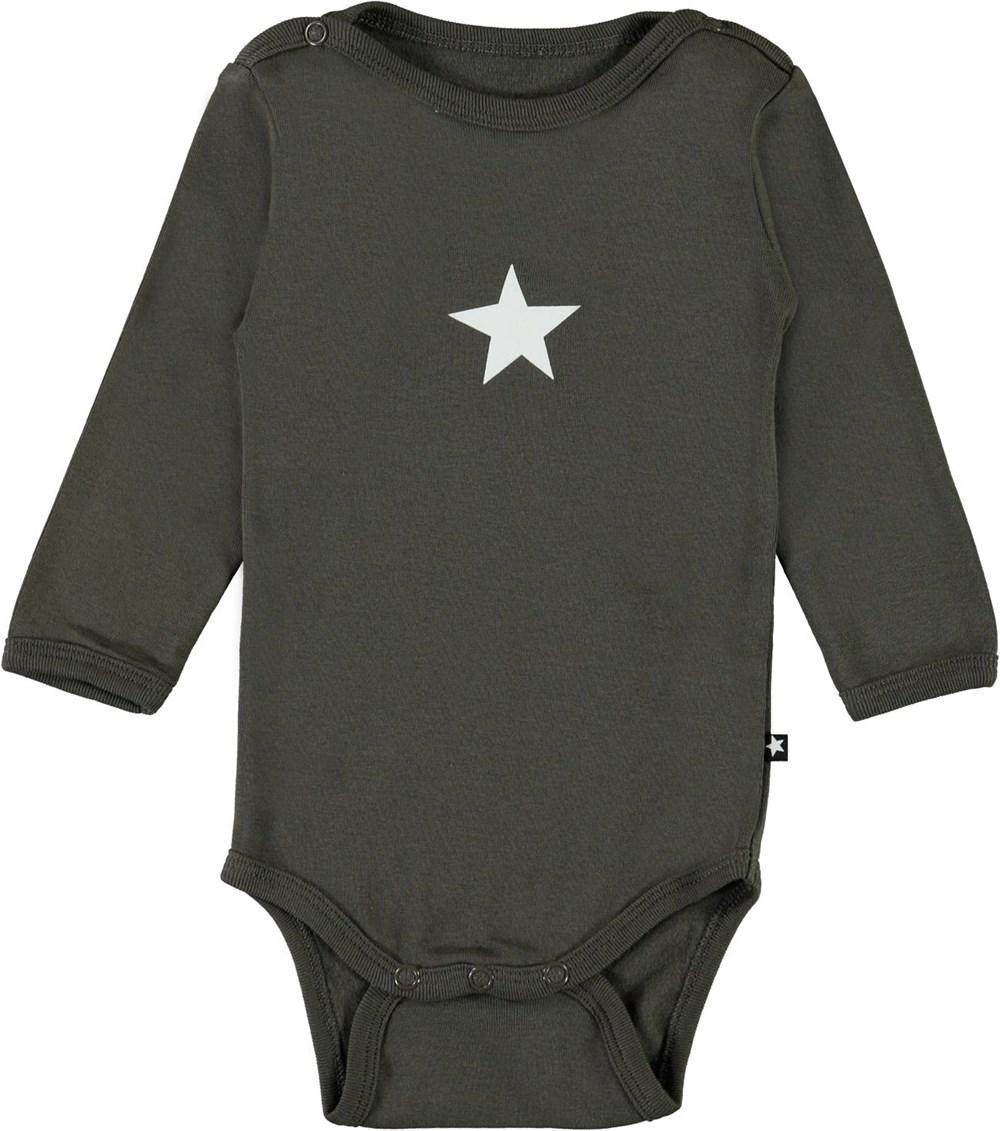 Foss - Beluga - Dark green organic baby bodysuit star