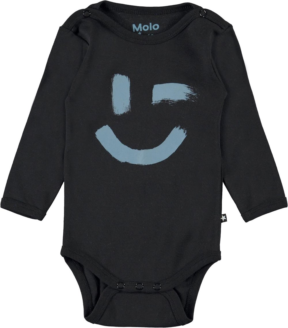 Foss - Black - Black organic baby bodysuit stars