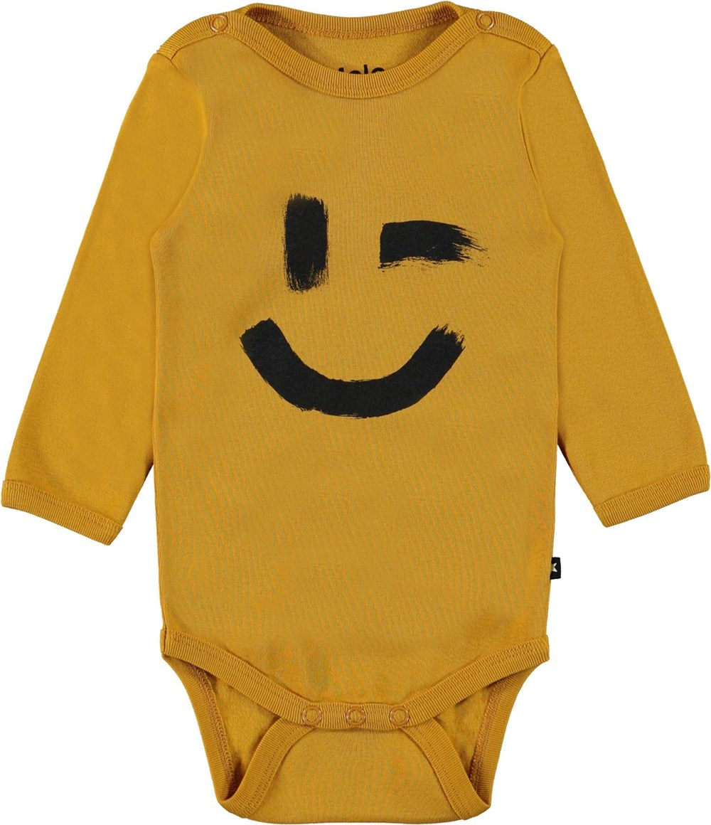 Foss - Honey - Yellow organic baby bodysuit smiley face
