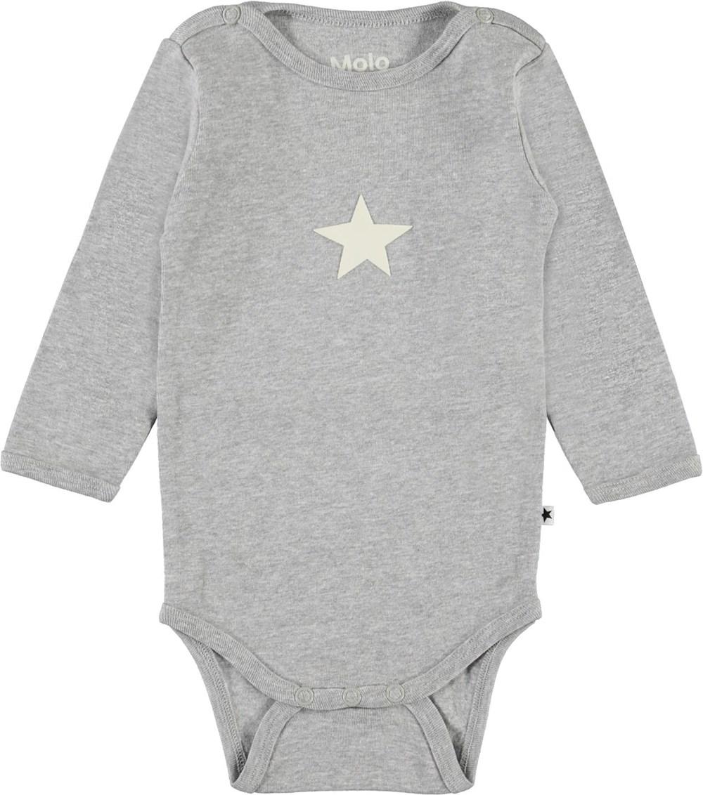 Foss - Light Grey Melange - Grey organic baby bodysuit star