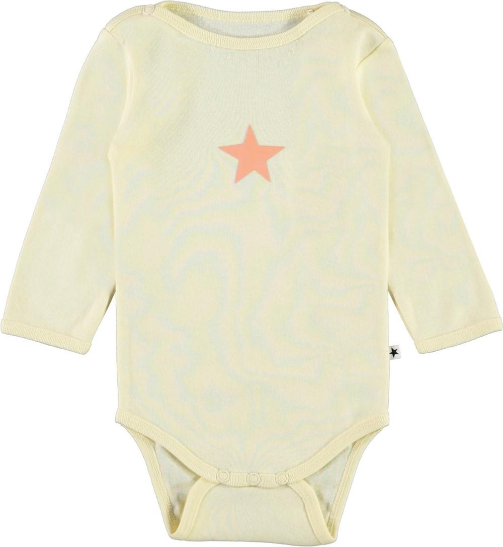 Foss - Marzipan - Light yellow organic baby bodysuit star