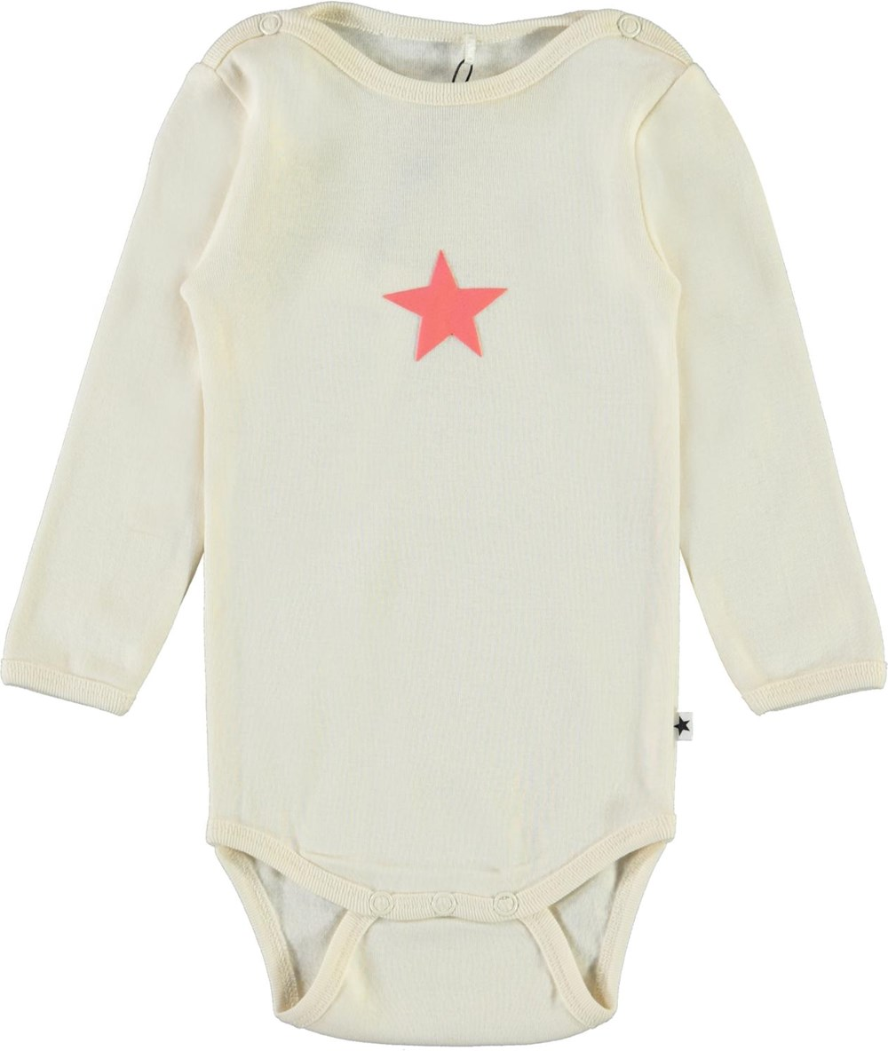 Foss - Pearled Ivory - Organic baby bodysuit with star