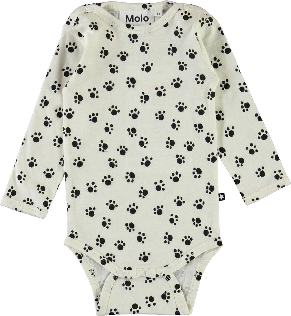 Foss - Puppy Paws - White organic baby bodysuit with paws