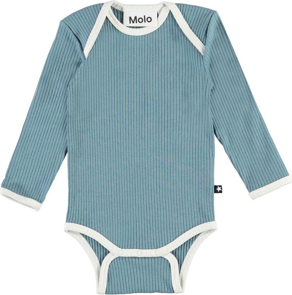 Faros - Aero - Økologisk lyseblå baby body med lyse kanter