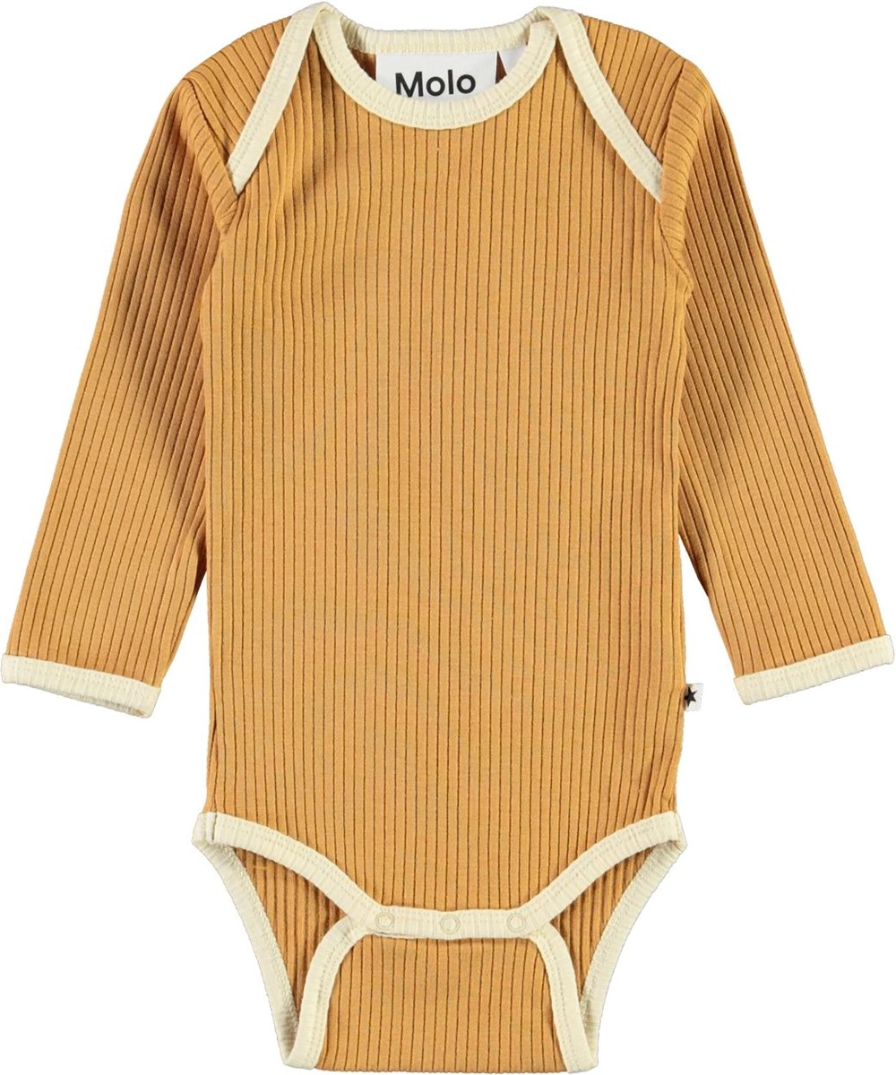 Faros - Honey - Gylden rib baby body