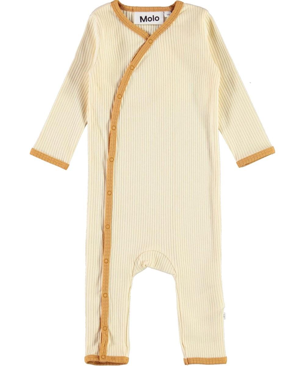 Fellow - Marzipan - Lys baby dragt med gylden kantbånd