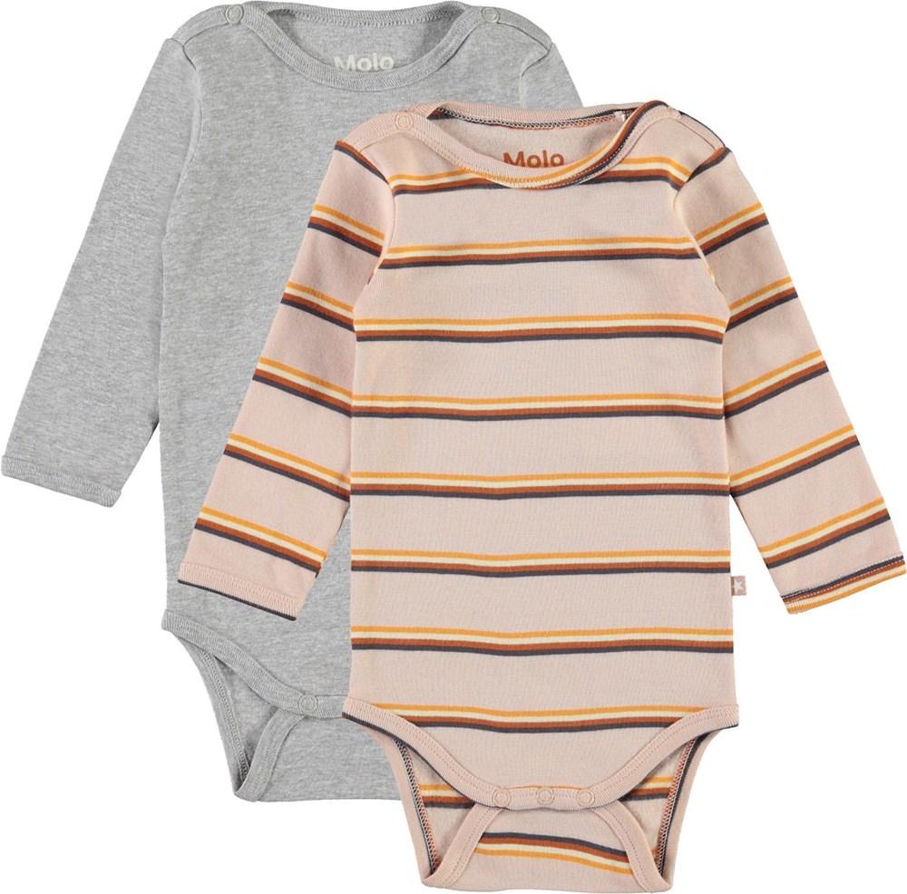 Foss 2-Pack - Striped Melange - Økologisk 2-pack baby body grå lyserød