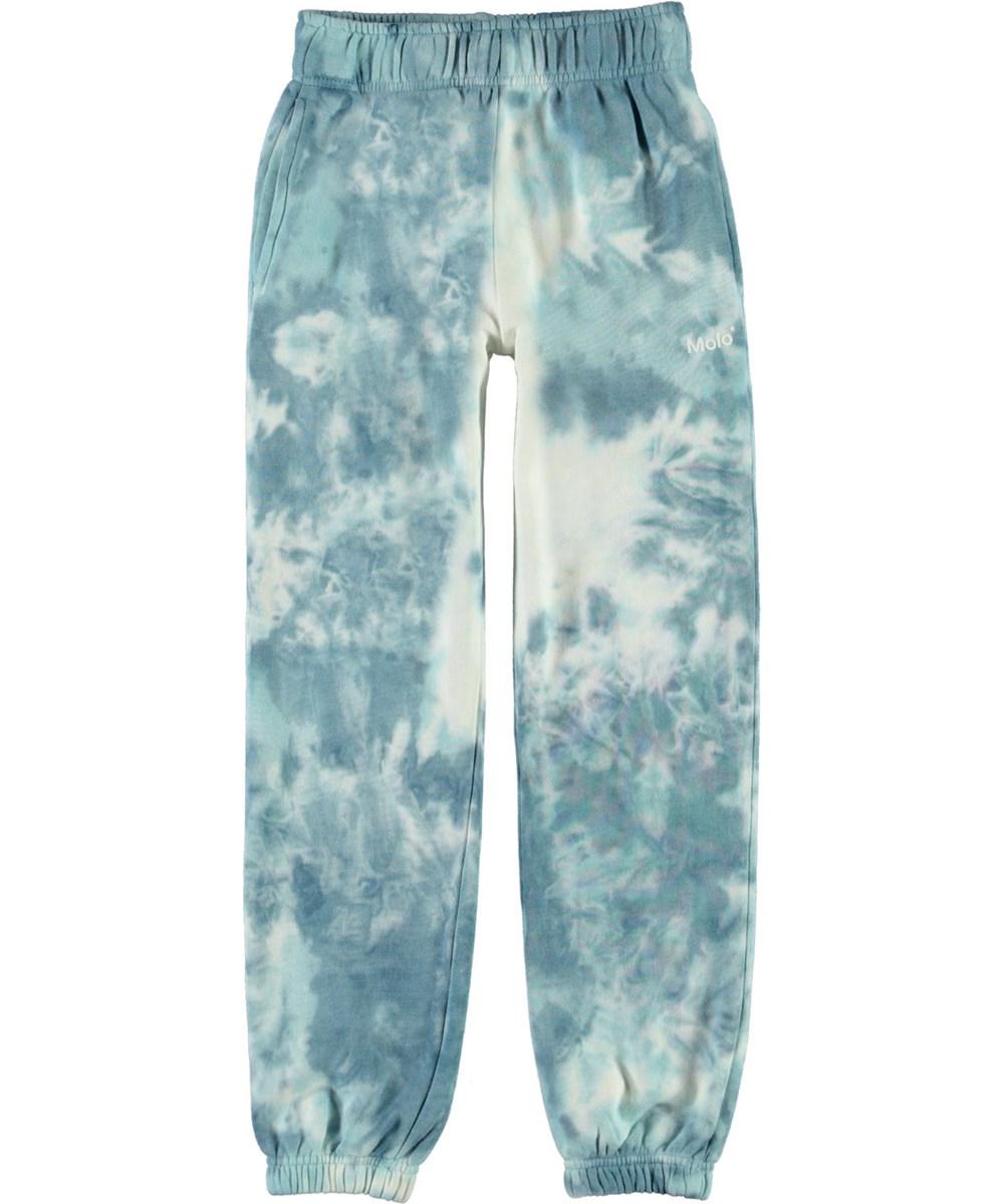 Am - Tie Dye - Sweatpants med lyseblåt og hvidt tie-dye print