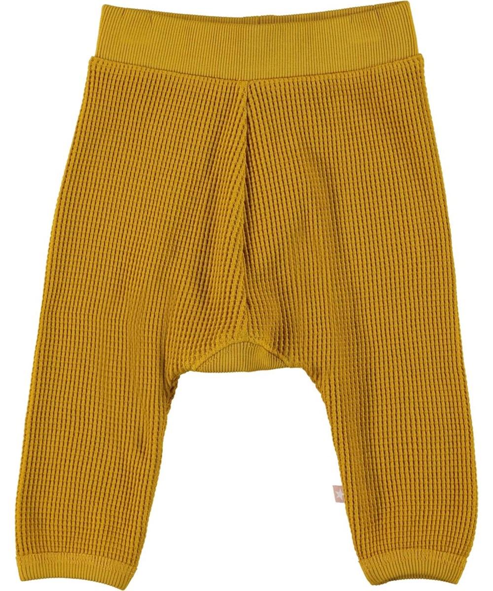 Samantha - Nugget Gold - Økologiske vaflede baby bukser i gul