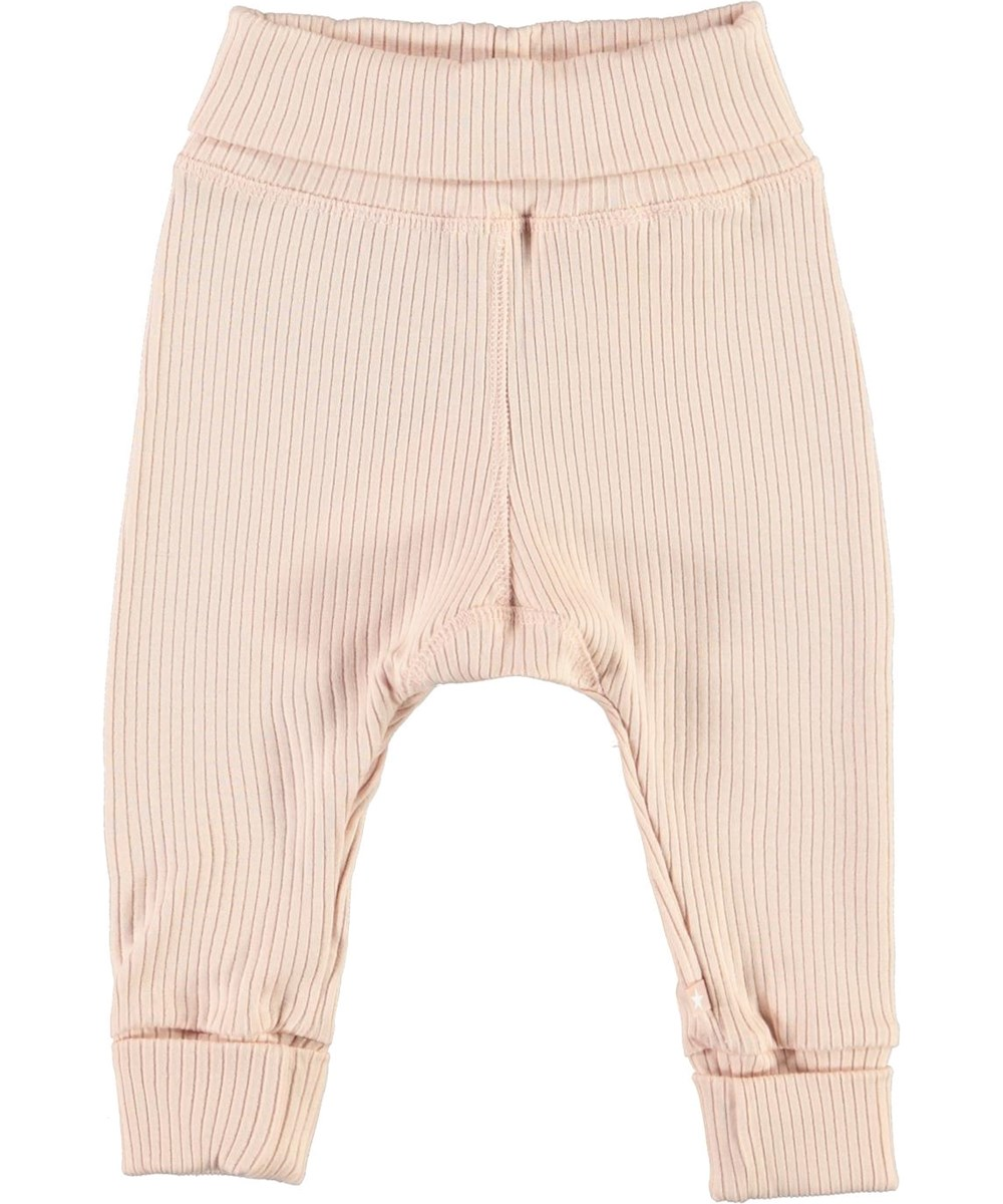 San - Cameo Rose - Lyserøde rib baby bukser