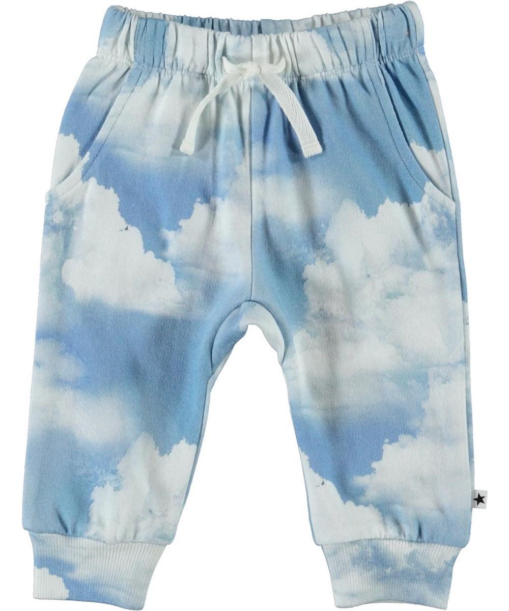 Simme - Clouds - Økologiske blå baby bukser med skyer
