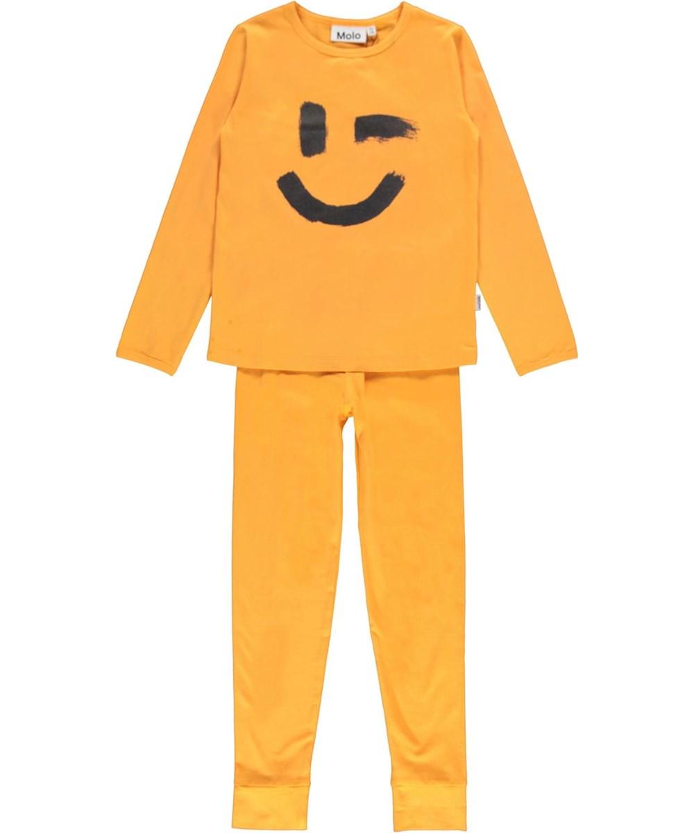 Lov - Sunset Orange - Nightwear set in orange with smiley face