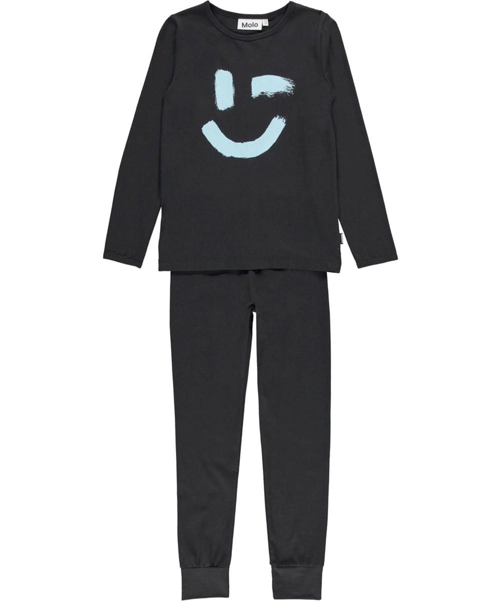 Luve - Black - Nightwear set in dark blue with smiley face