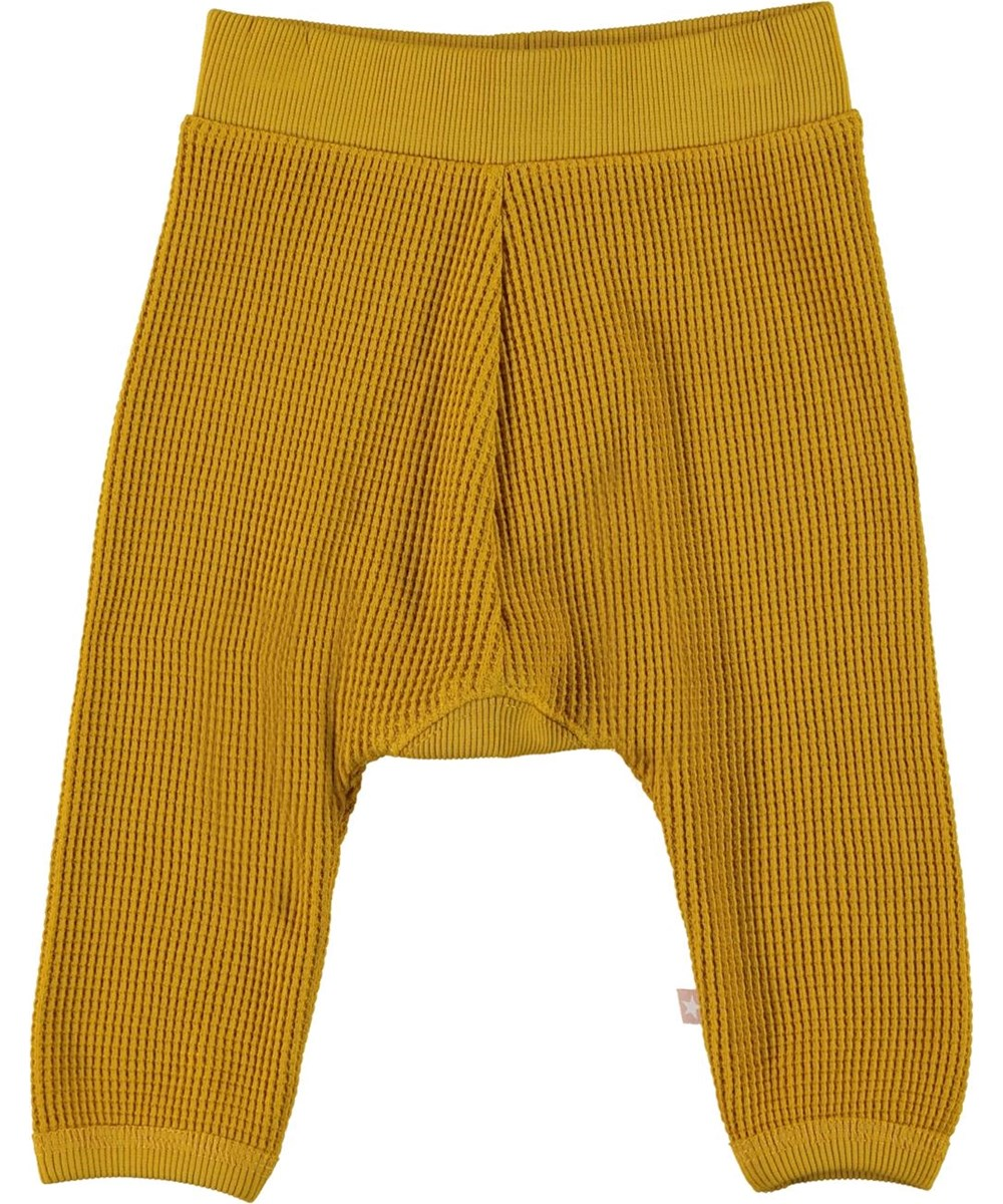 Samantha - Nugget Gold - Organic waffled baby trousers in yellow