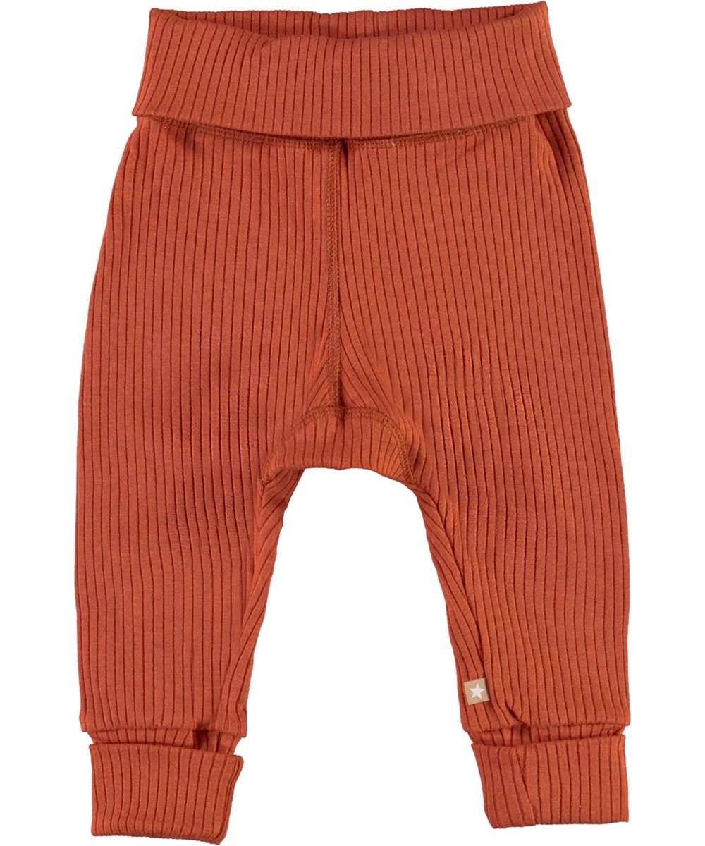 San - Burnt Brick - Dark red rib baby trousers