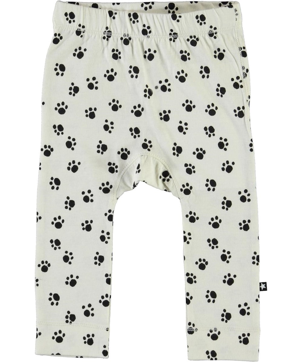 Seb - Puppy Paws - White organic baby trousers with paws