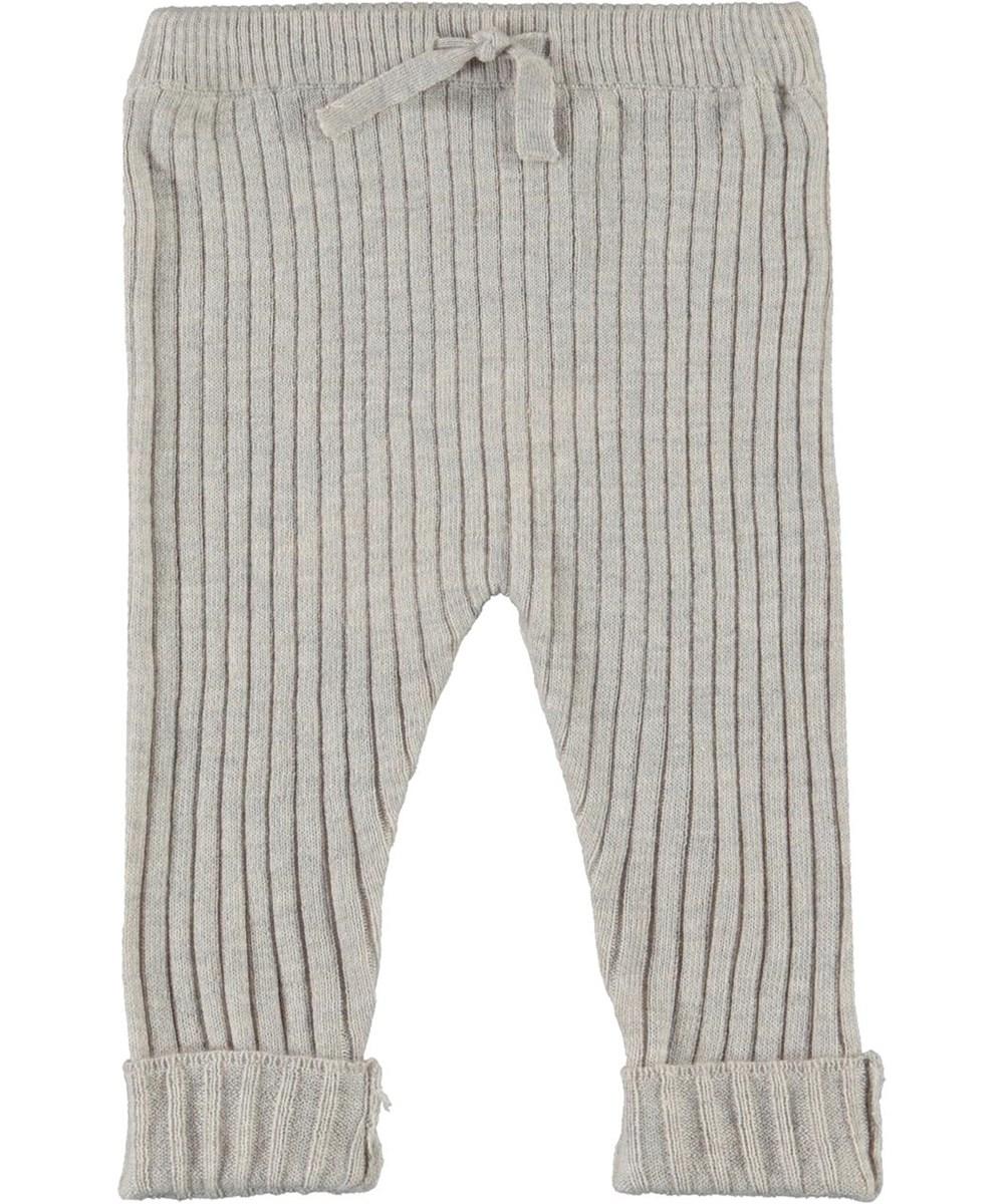 Shadow - Doeskin Melange - Knit baby trousers in grey