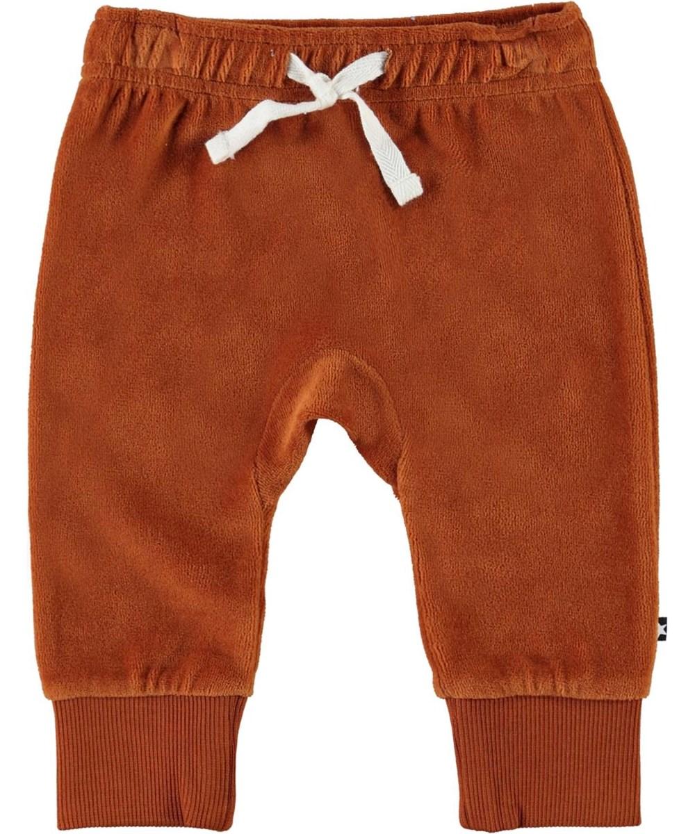 Sigo - Iron - Brown velour baby trousers