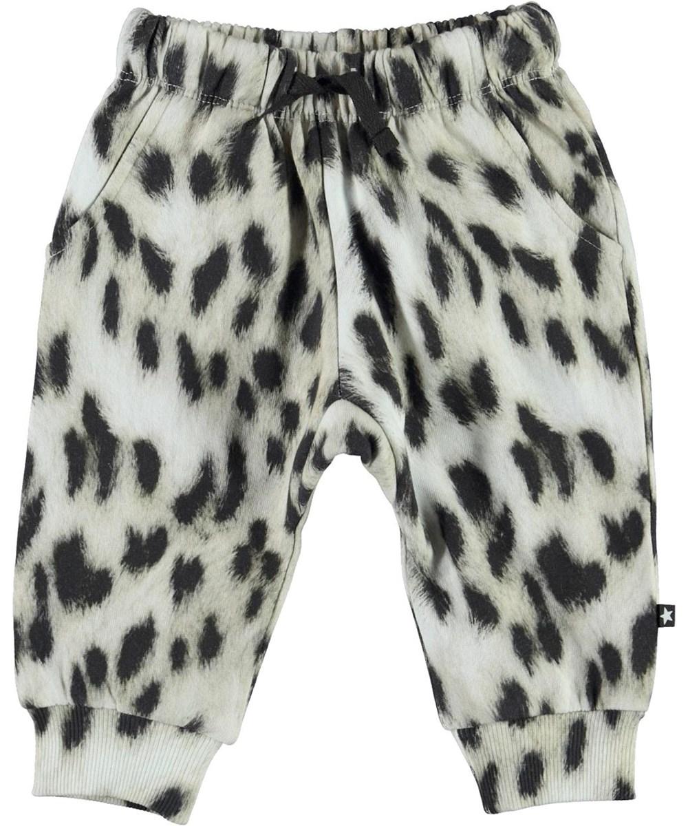 Simme - Snowy Leo Fur - Organic snow leopard baby trousers