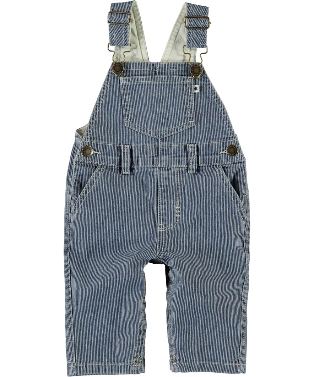 Sky - Fine Milkboy Stripe - Blue baby dungarees with white stripes