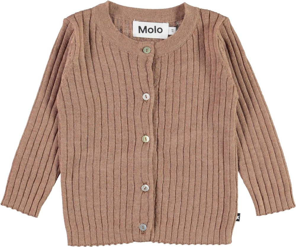 Georgette - Iron - Brown baby knit cardigan