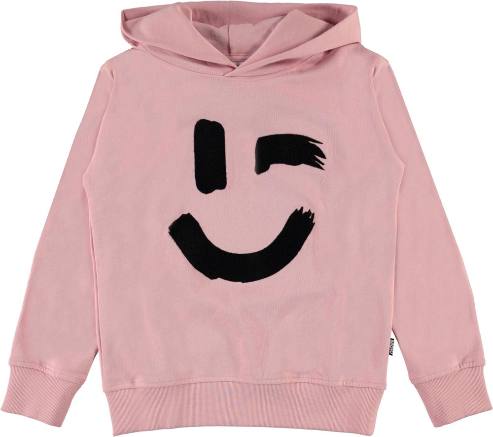 Madelyn - Rosequartz - Pink organic hoodie with smiley face