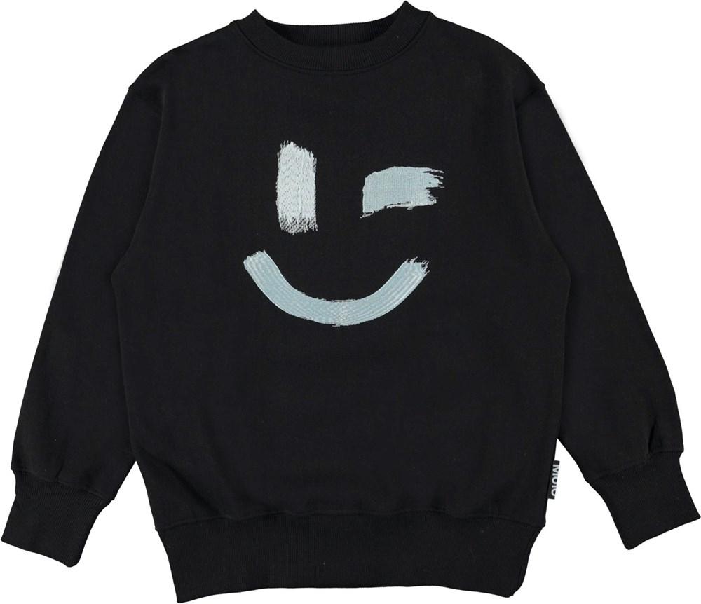 Mattis - Black - Black organic sweatshirt with smiley face