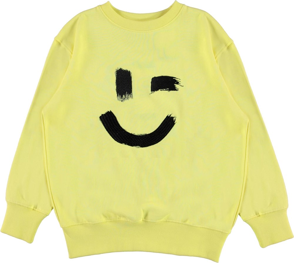Mattis - Yellow Light - Organic light yellow sweatshirt with smiley face