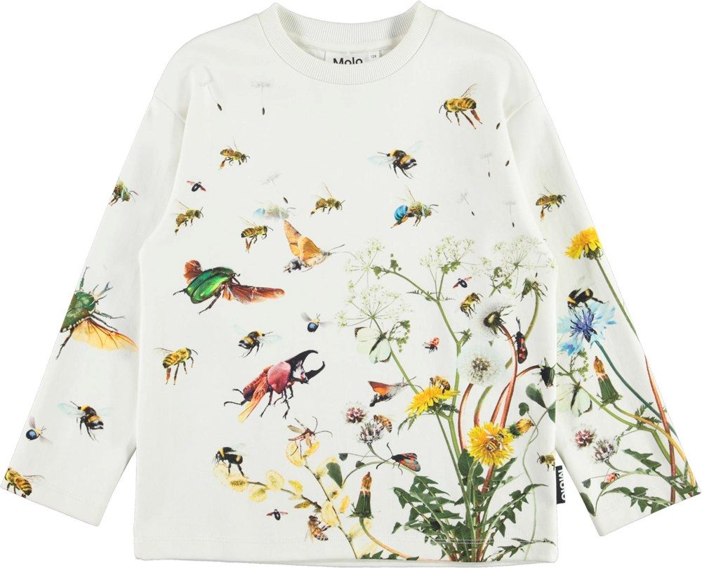Mountoo - Pollinators - White long-sleeved t-shirt with prints of insects