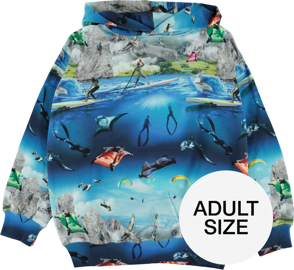 Moz Adult - Go Extreme - Adult organic hoodie with extreme sport print