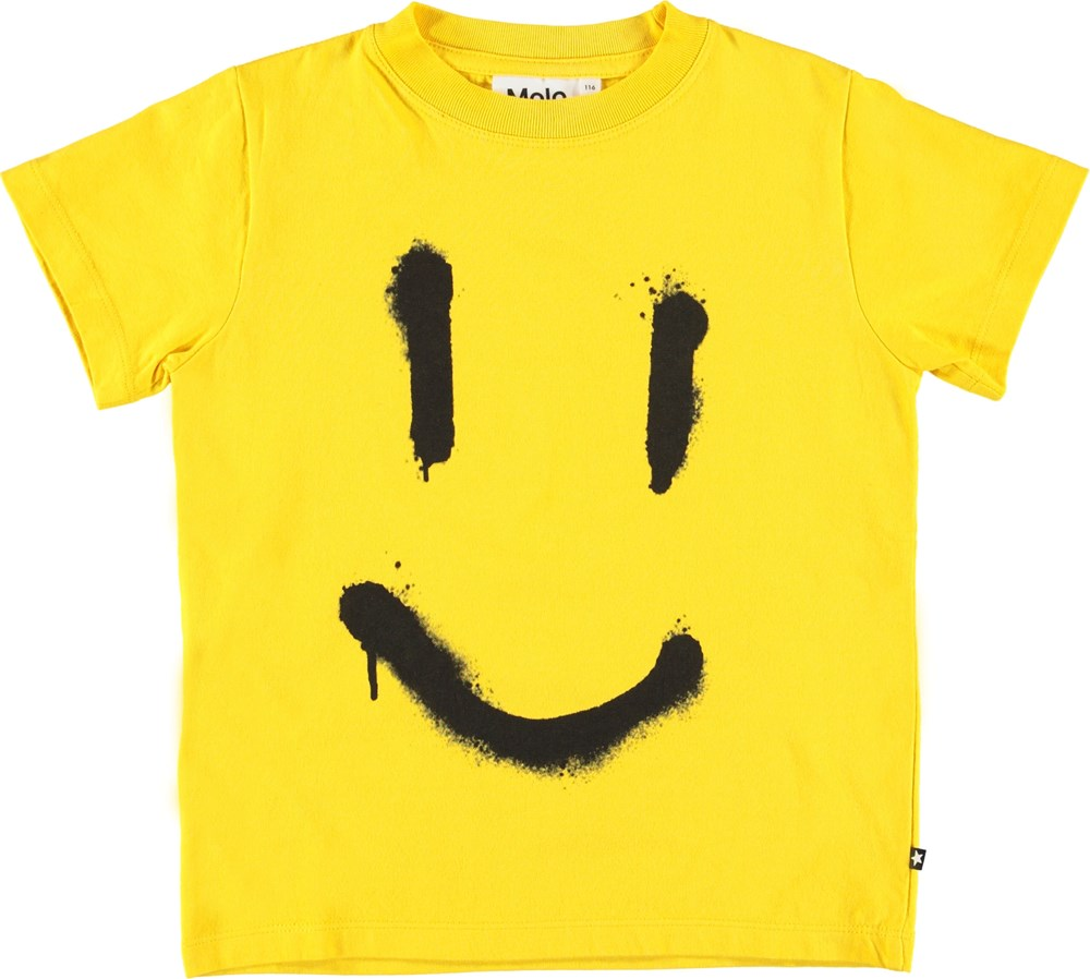 Reeve - Comet - Unisex gul smiley t-shirt.