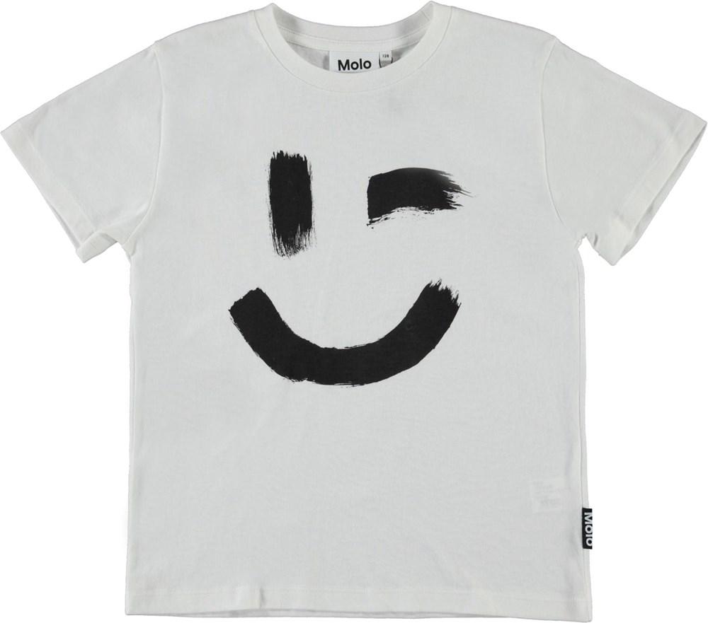 Roxo - White Star - Økologisk hvid t-shirt med smiley