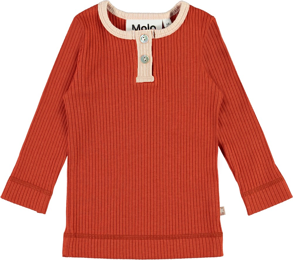 Earth - Burnt Brick - Red baby top in rib