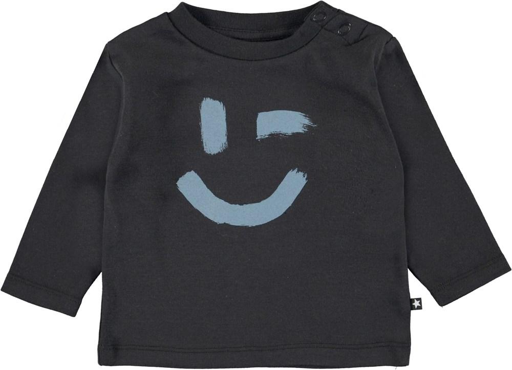 Eki - Black - Black organic baby top with smiley face