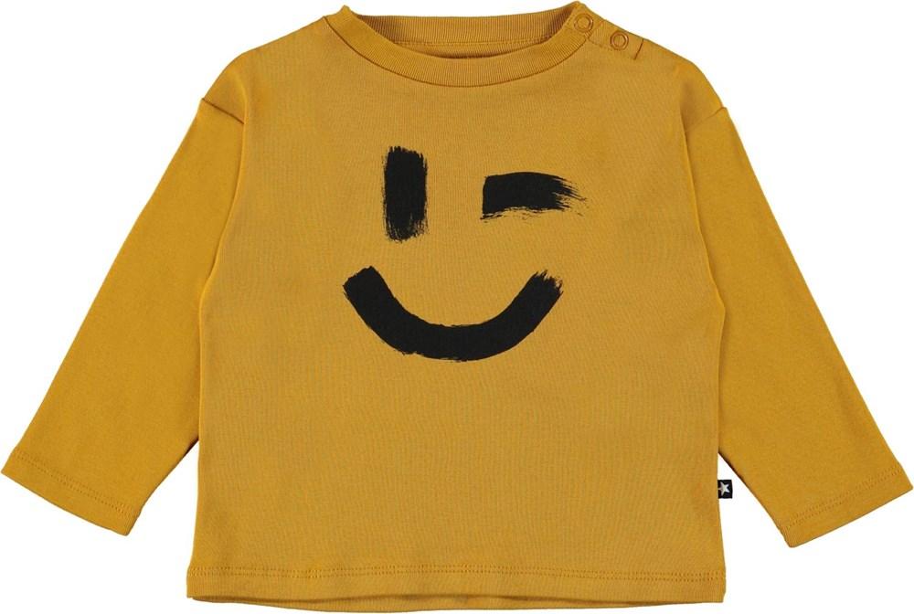 Eki - Honey - Yellow organic baby top with smiley face