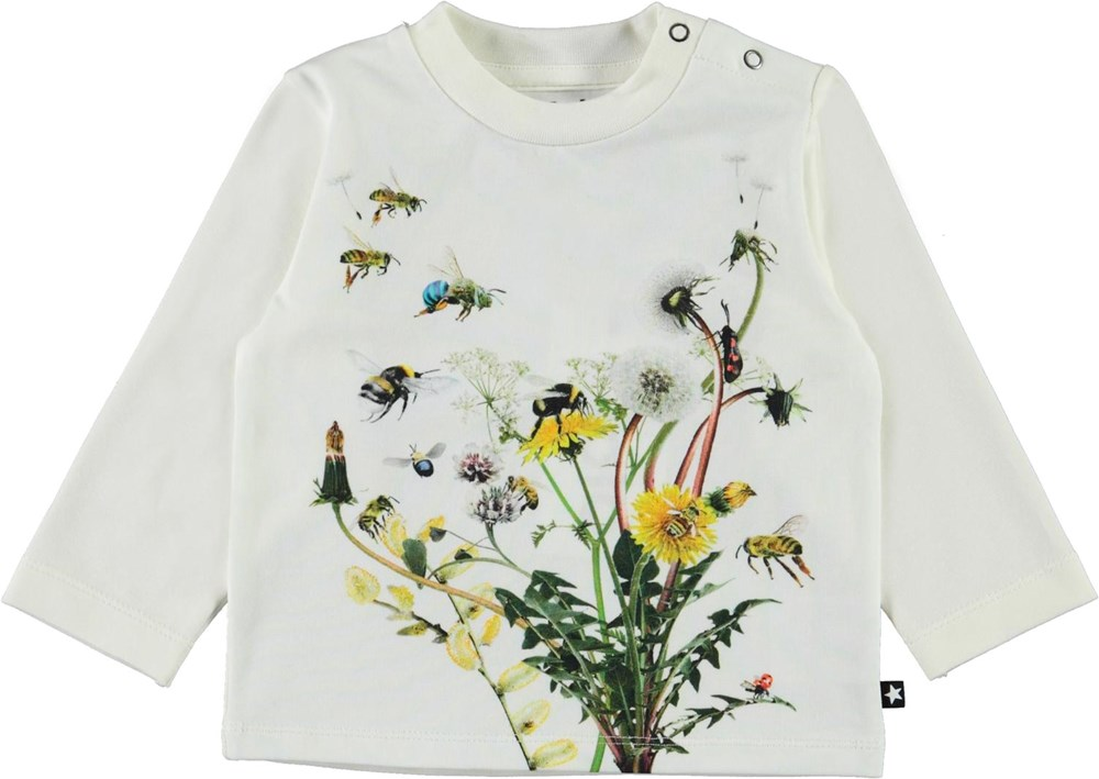 Enovan - Pollinators - White organic baby top with flowers and insects