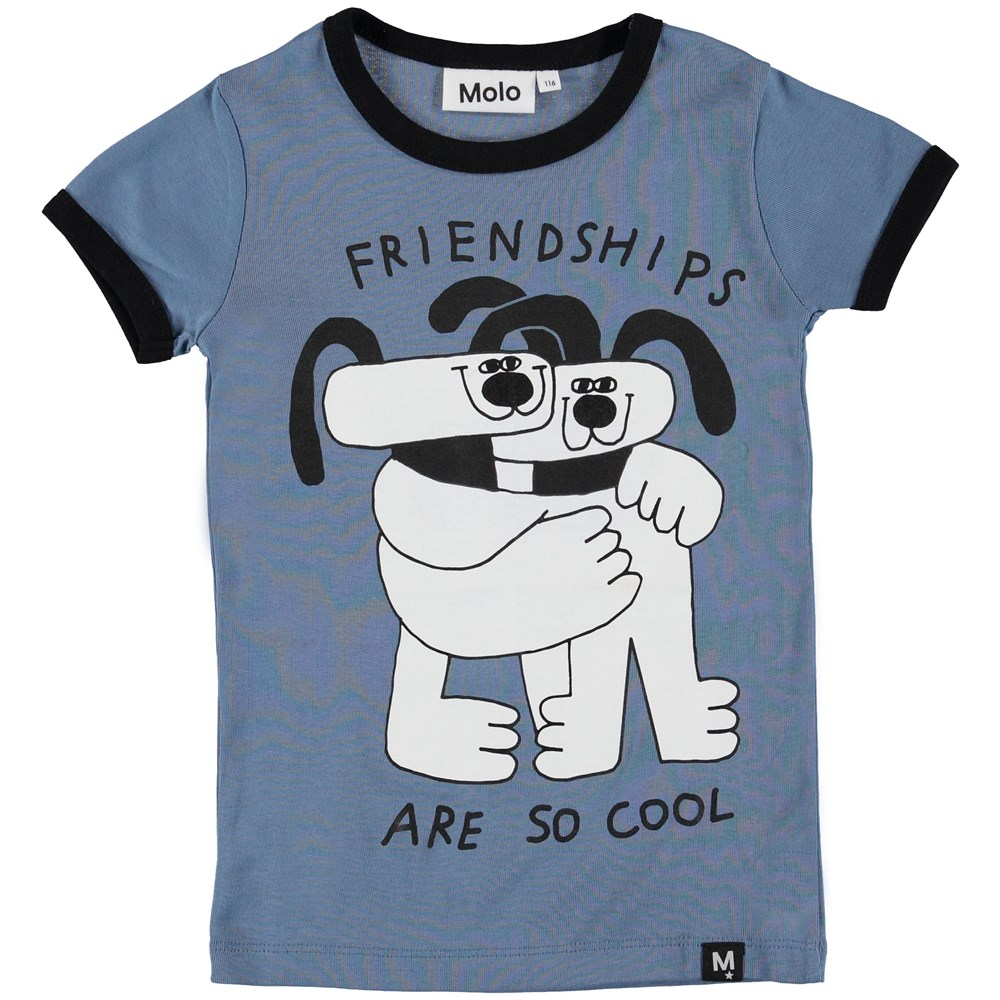 Radio - Twilight Blue - Blue t-shirt with dogs.