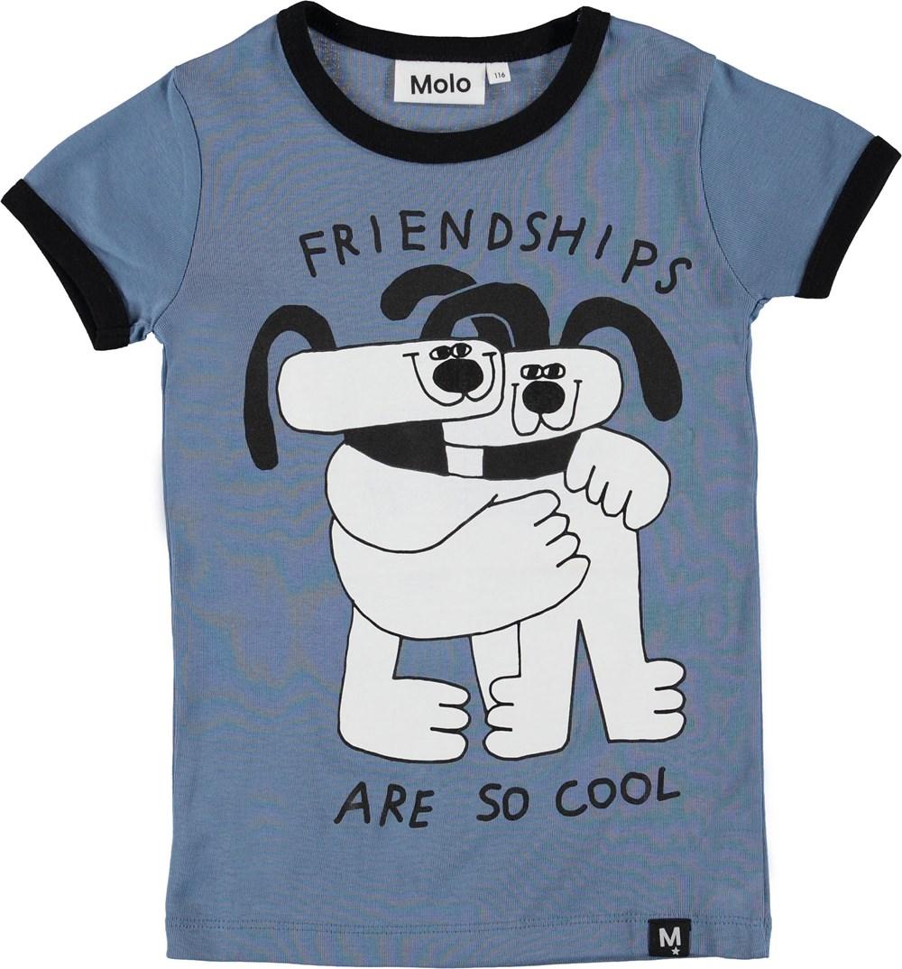 Radio - Twilight Blue - Blue t-shirt with dogs.