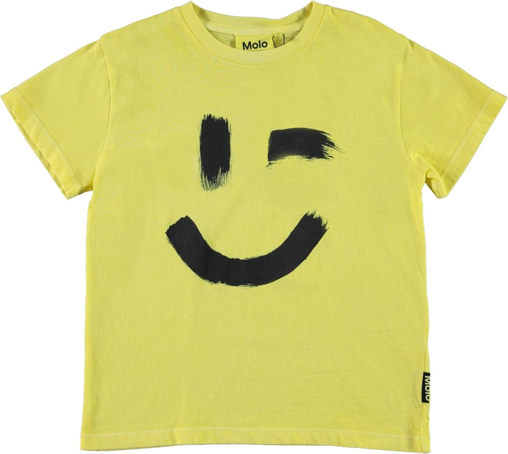 Rame - Yellow Light - Light yellow t-shirt with smiley face