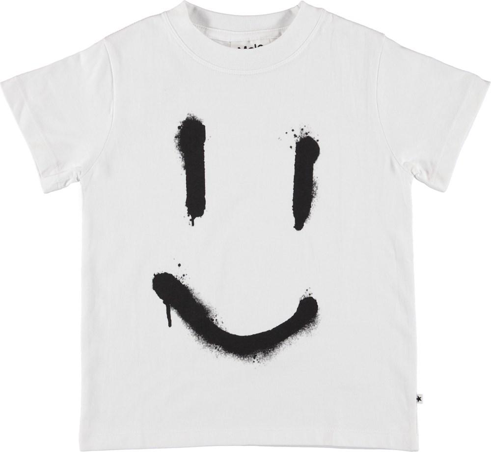 Reeve - White Smily - Unisex white smiley t-shirt.