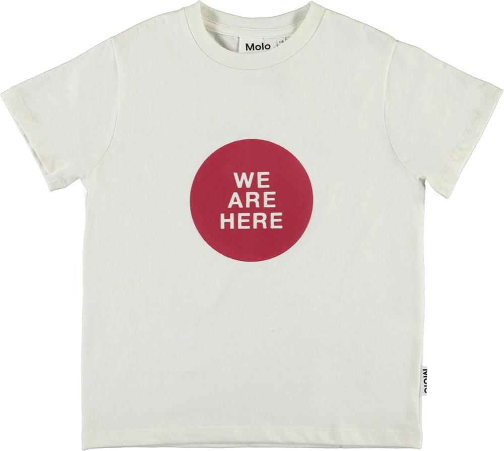 Roxo - White Star - White organic t-shirt with 'we are here'