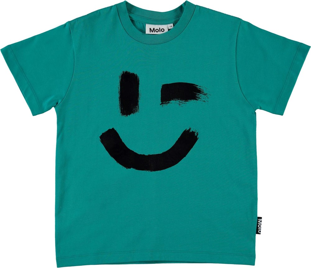 Roxo - Teal - Green organic t-shirt with smiley face