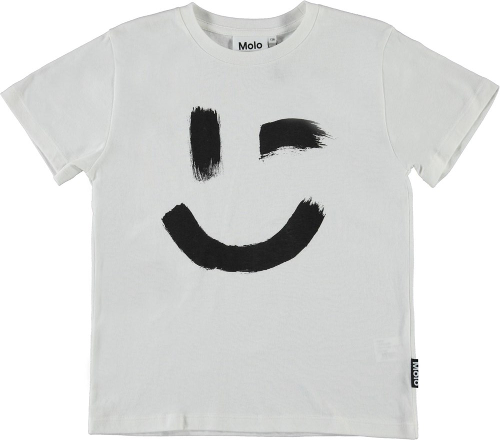 Roxo - White Star - White organic t-shirt with smiley face