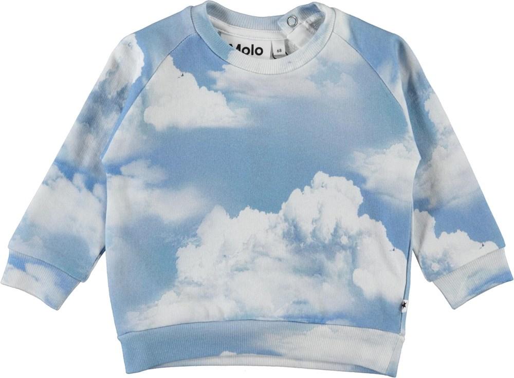 Disco - Clouds - Blå og hvid tie-dye sweatshirt